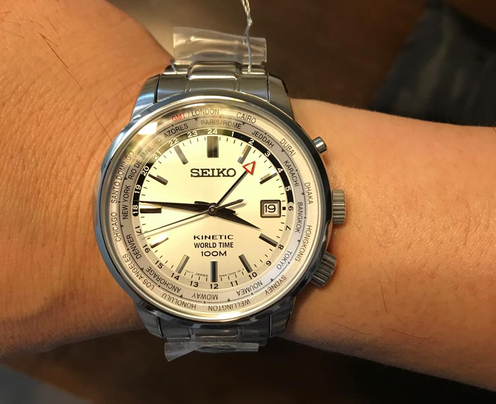 SEIKO SUN067P1 Neo Sports M World Time SSB Kinetic Silver *Clearance