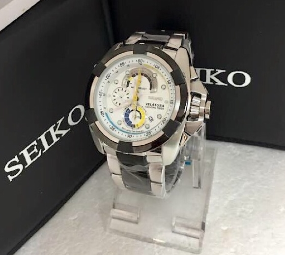 Seiko Velatura Chronograph Men Watch Jam Tangan