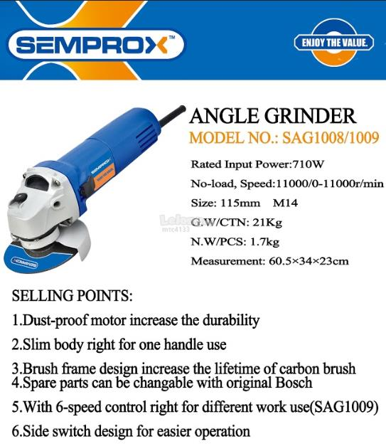 SEMPROX VARIABLE SPEED 4' ANGLE GRINDER