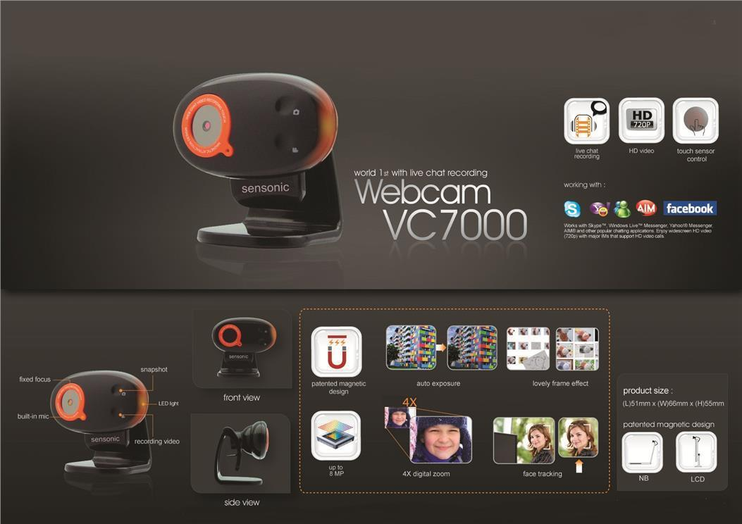 SENSONIC 720P HD WEBCAM VC7000