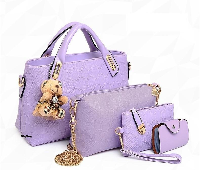 f207613aead4 Set of 4 Bear Leather Purse Sling Bag Handbag Tote Bag 908 (Purple)