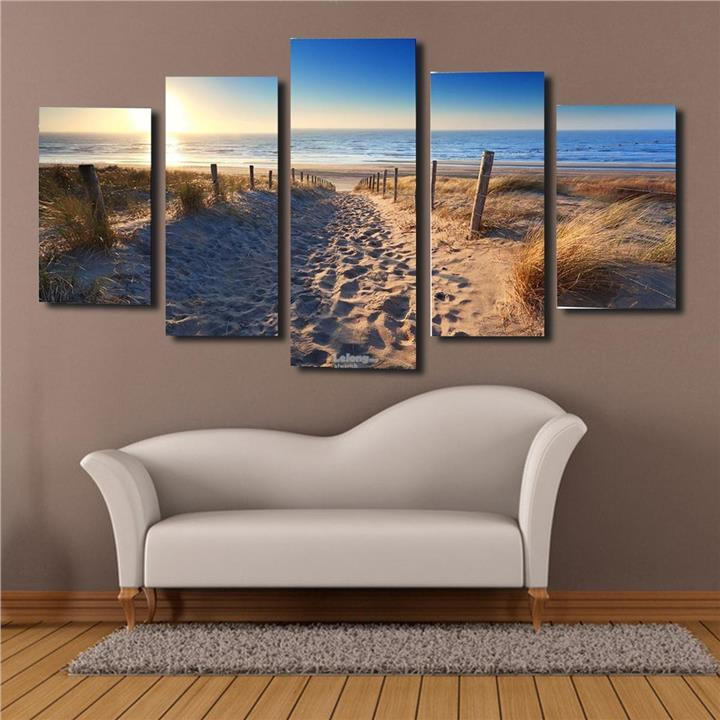 Set of 5PCS Beach Canvas Prints NO Framed Painting Pictures Wall Art H