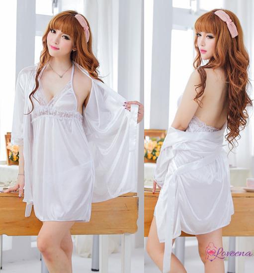 cfa3d0ead4 Set of Sexy White Ice Silk Robe + (end 11 19 2019 12 27 PM)