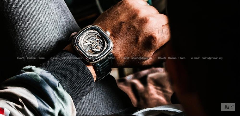 SEVENFRIDAY S2/01 Revolution Automatic Multi Layer NFC Leather Black