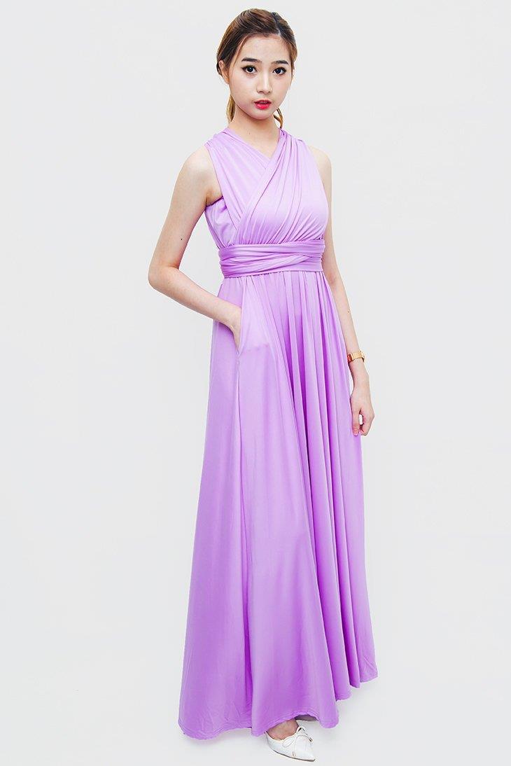 181a97e54085 Light Purple Long Dress With Sleeves | Saddha