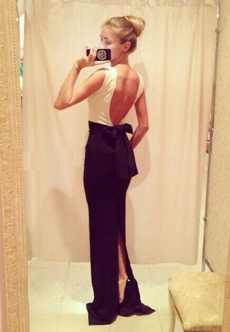 Sexy Backless Tuxedo Maxi Evening Gown