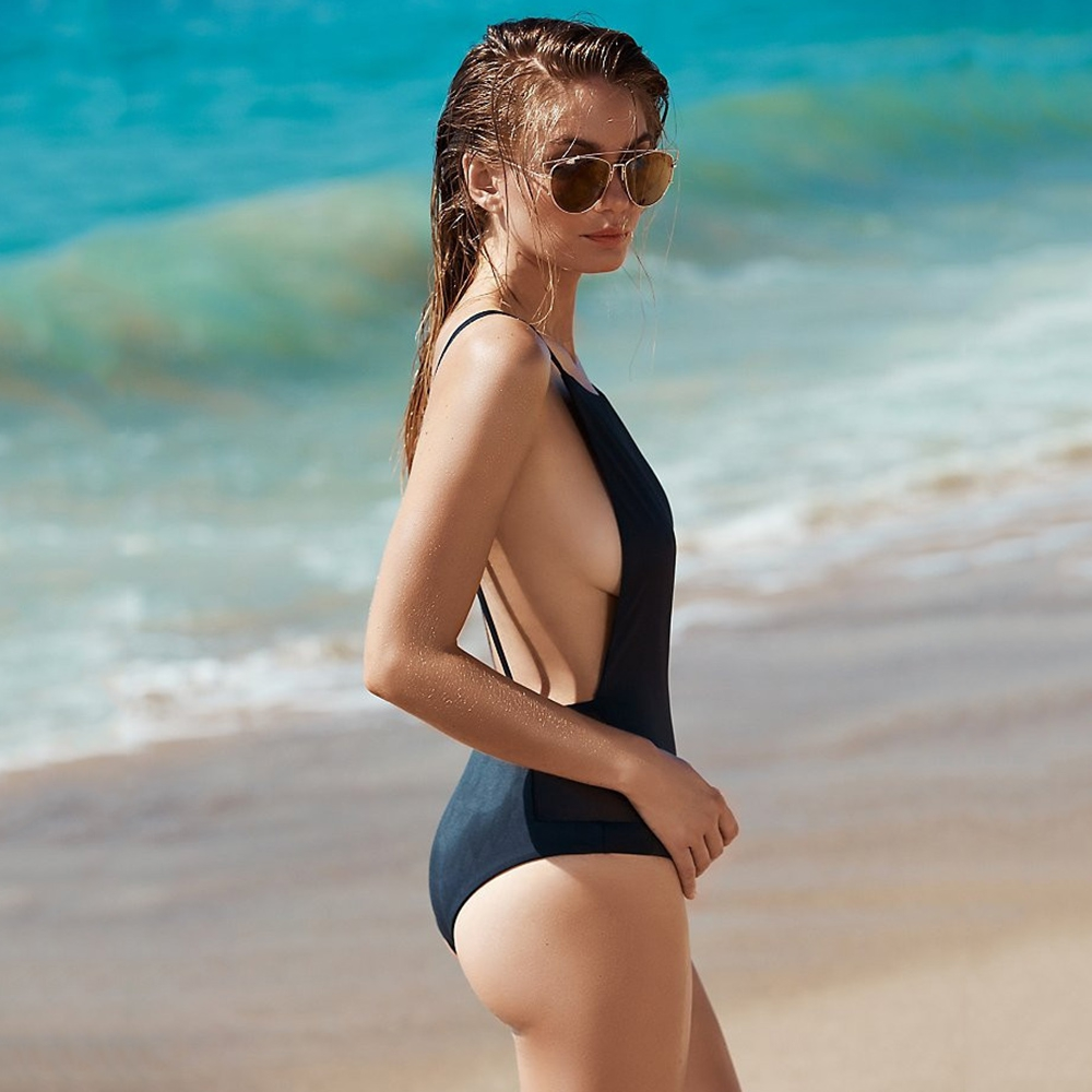 SEXY ROUND COLLAR BACKLESS GAUZE PATCHWORK HIGH WAIST PURE COLOR SWIMW