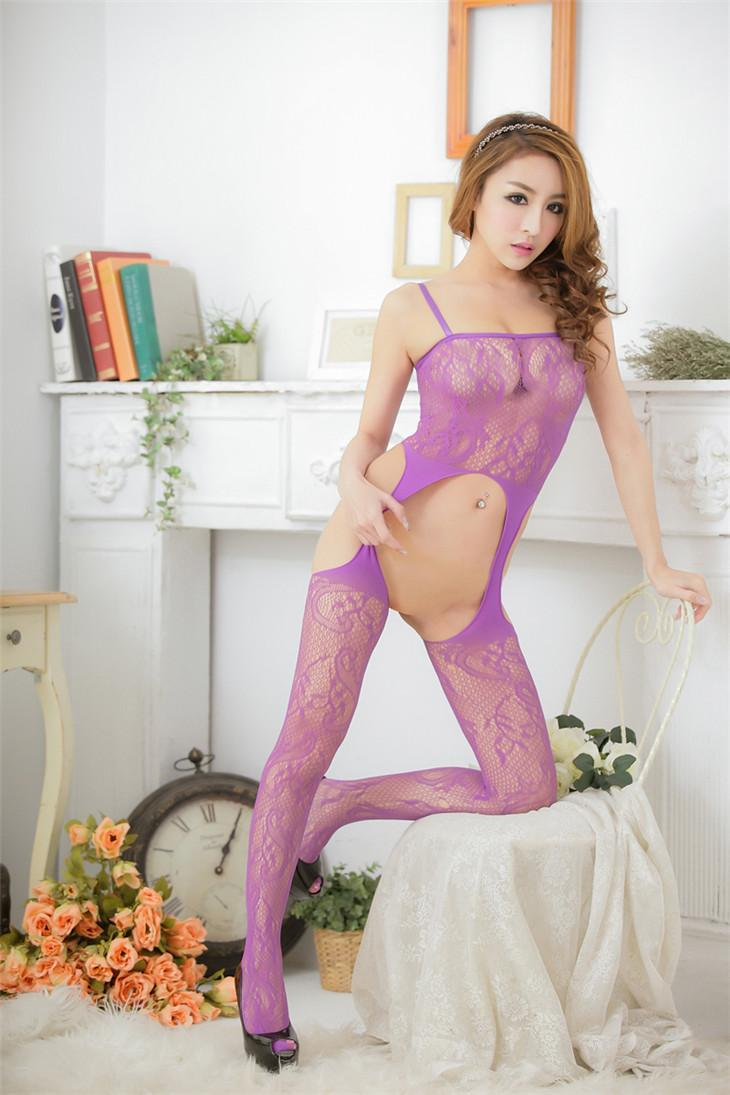 Sexy Dragon-Pattern One-Pcs Fishnet Sling Stocking (Purple)