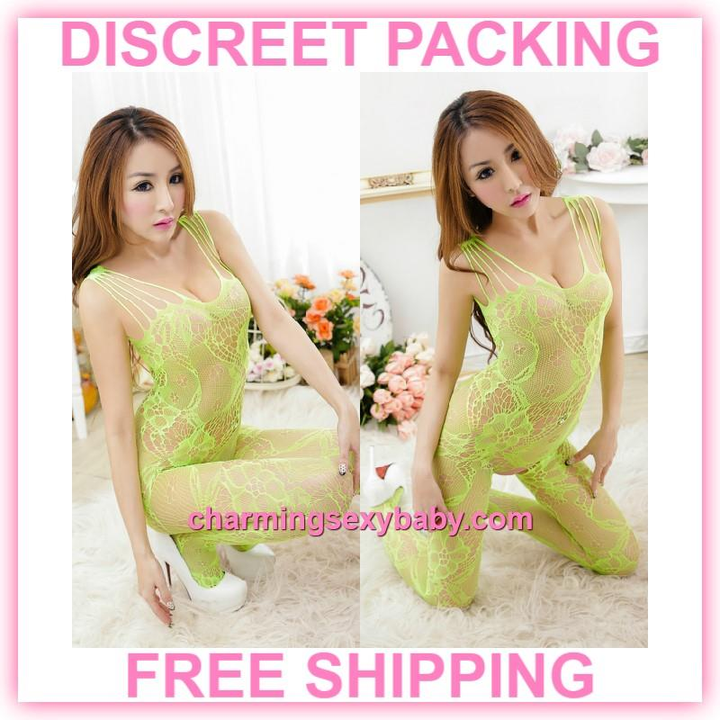 Sexy Fishnet Body Stocking Green Flower Open Crotch Lingerie  -