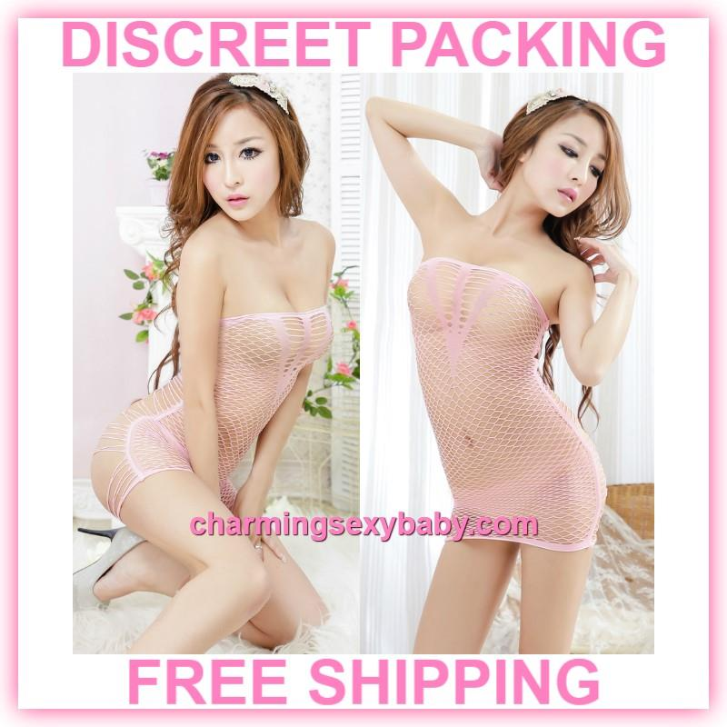 Sexy Fishnet Body Stocking Pink Dress Hosiery Lingerie Sleepwear  -