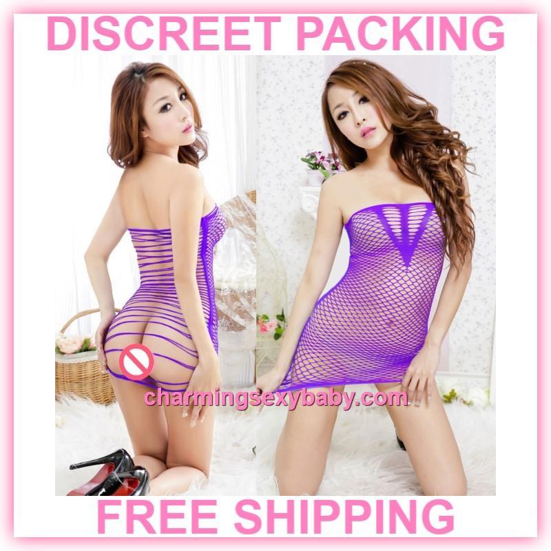 42f2a81fc6e Sexy Fishnet Body Stocking Purple Dress Hosiery Lingerie Sleepwear. ‹ ›