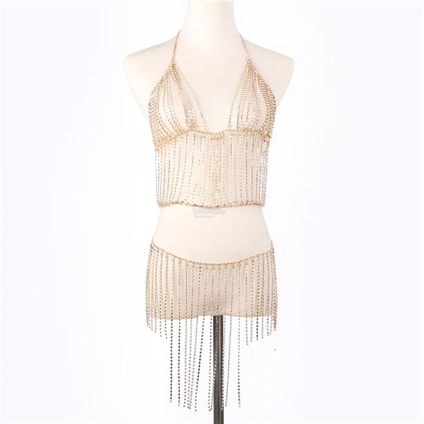 Sexy hanging neck tassel bright brick suit female