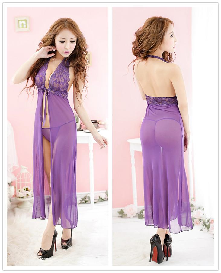 Sexy Lace Open-style Halter Long Dress + Panties (Purple)