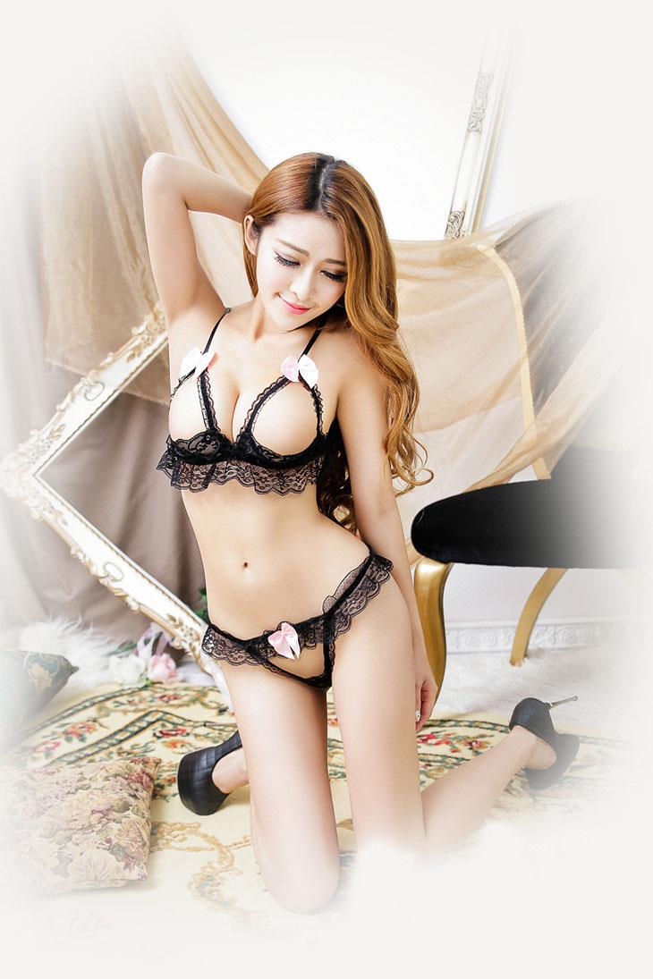 Sexy Lace Open Type Bra Set 2pcs (Black)