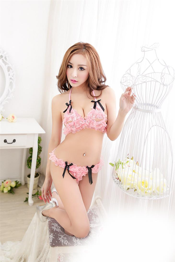 Sexy Lace Thin Gauze Bra Set (Pink)