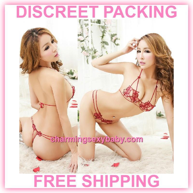 Sexy Lingerie Bikini Flower Bra + Open Crotch Panties Sleepwear. ‹ › 5881458659