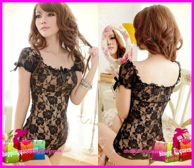 Sexy Lingerie Black Lace Mini Babydoll Dress + G-String Sleepwear -