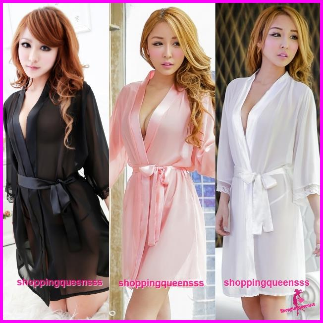 Sexy Lingerie Black Robes + G-String Women Sleepwear Pyjamas Nightwear