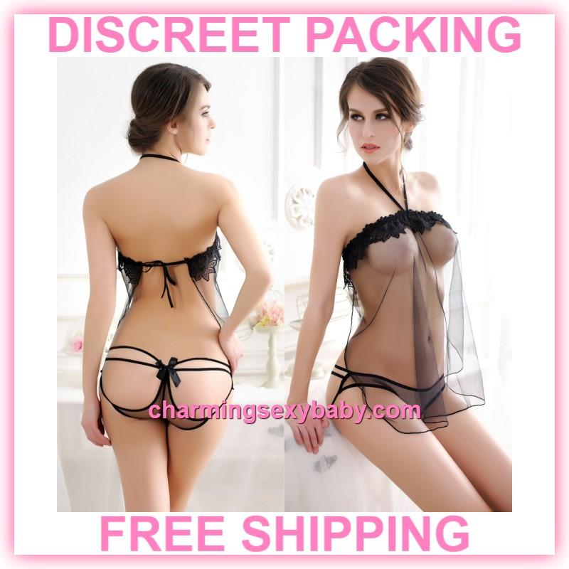 a017fb3c3 Sexy Lingerie Black Transparent Dres (end 11 9 2019 1 19 AM)