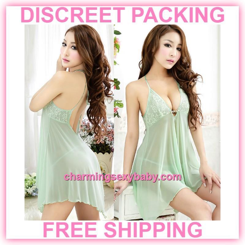 Sexy Lingerie Low Cut Babydoll Dress G-String Sleepwear (3 Colors) 88715e4c36