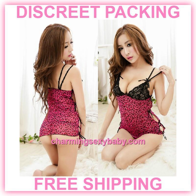 e0485ebb69e0c Sexy Lingerie Leopard Print Low-Cut Dress G-String Sleepwear Pyjamas