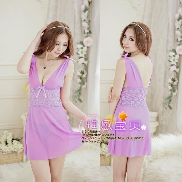 Sexy Lingerie Light Purple Nightly Dress