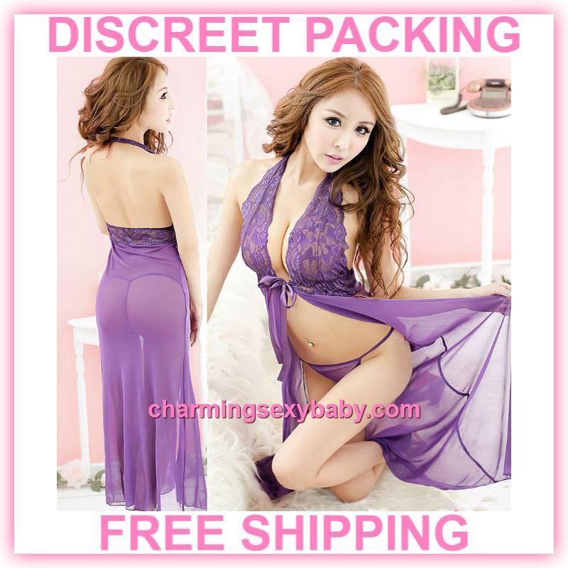1f614e4c9bdc Sexy Lingerie Purple Lace Halter Babydoll Long Dress Sleepwear Pajamas. ‹ ›