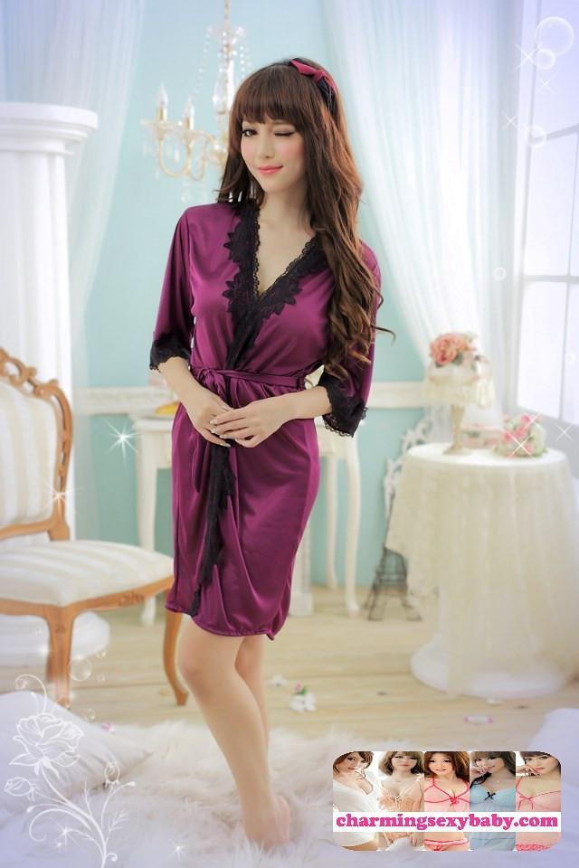 6eaa8f01e210 Sexy Lingerie Satin Robes Women Slee (end 6 25 2020 2 00 AM)