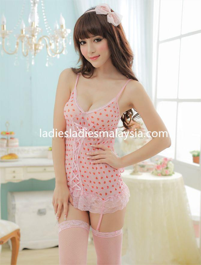 sexy lingerie sleepwear nightwear lace ribbon love heart shape