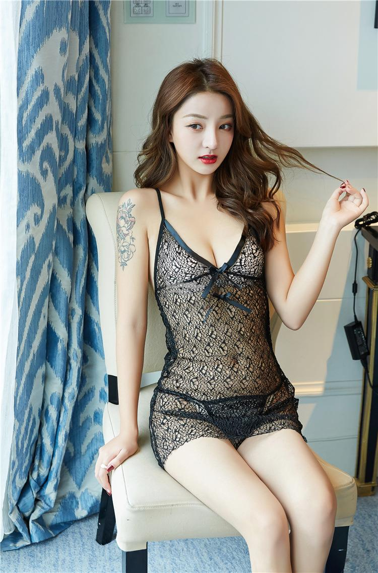 Sexy lingerie uniform temptation lace piece harness set