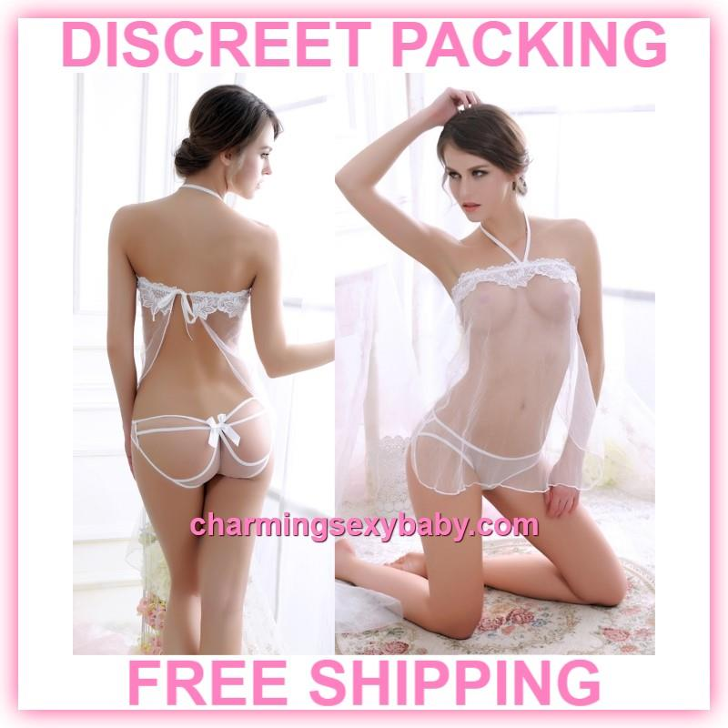 bbbe94bffbb Sexy Lingerie White Transparent Dress + Panties Sleepwear Pajamas. ‹ ›