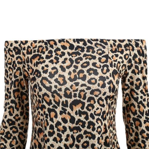 SEXY LONG SLEEVE OFF THE SHOULDER LEOPARD PRINT WOMEN DRESS (FLAXEN)