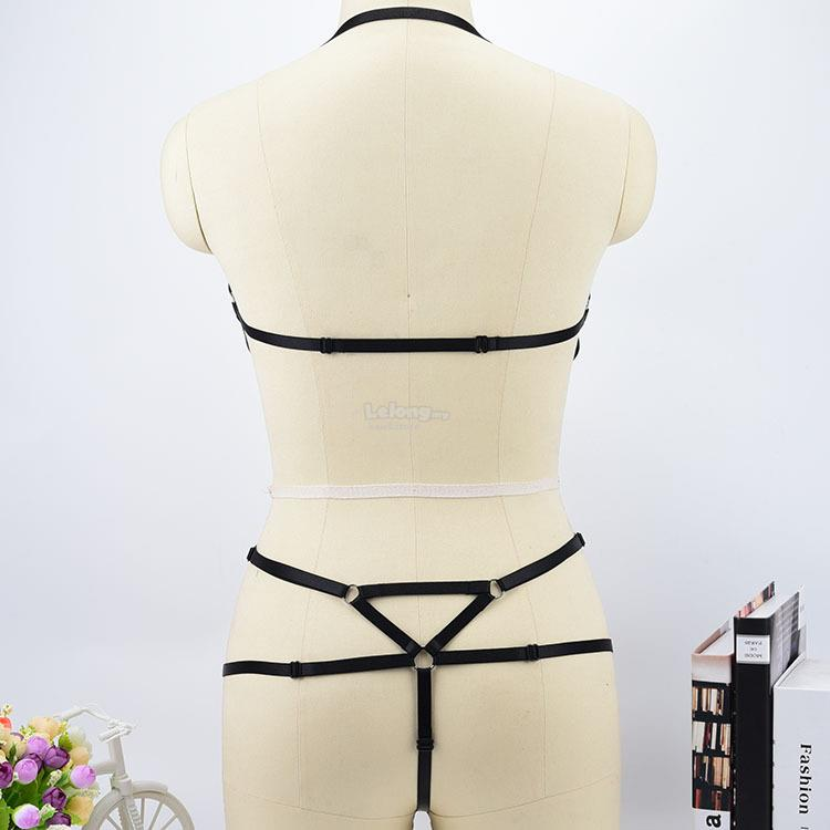 Sexy Lotion Hanging Neck Strap Bra Set Sex Wire Harness Underwear