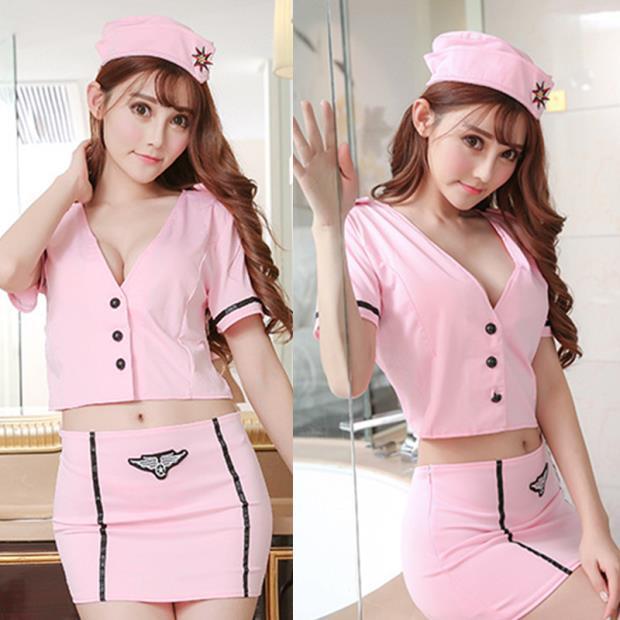 Office U212 Sexy Pink Stewardess Lady Sleepwear Costume Lingerie 2EIDH9WY