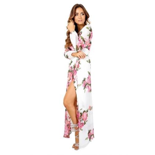 SEXY PLUNGING NECK FLORAL PRINT CHIFFON WOMEN WRAP DRESS (WHITE) af73001c23