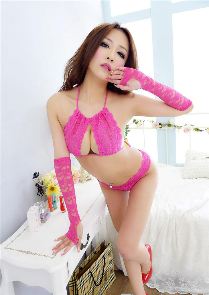 Sexy Rose Red Lace Four-pcs Suit