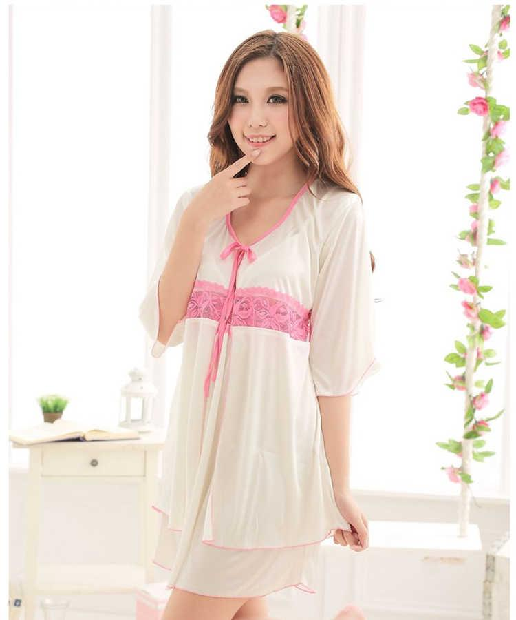 Sexy Silk Ice Sling Two-piece Women Nightgown with Robe #mf7703