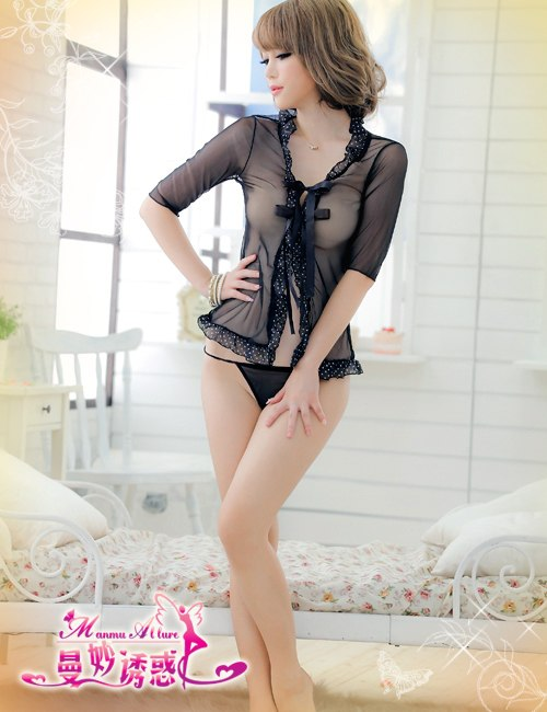 Sexy Transparent Black Blouse With Matching G-String