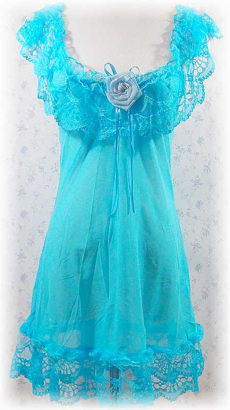 Sexy Transparent Blue Satin Flower Babydoll With Matching G-String