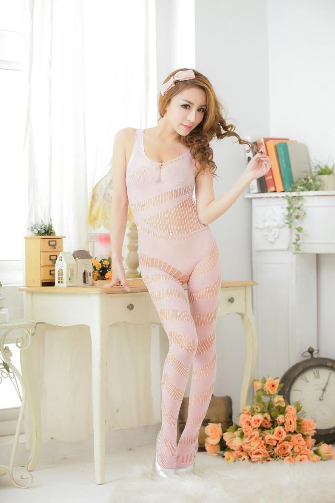 New Sexy Transparent One-Pcs Fishnet Stocking (Pink)