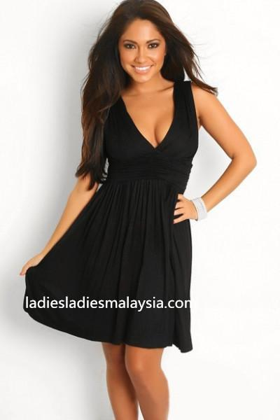 Sexy low V neck flare dress dinner dress
