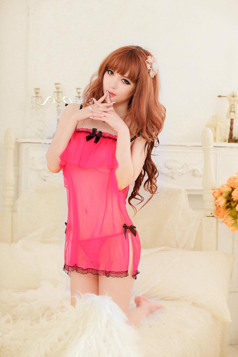 f1049fdf6e Sexy Women Nightdress Babydoll Lingerie Sleepwear Dark Pink YE207