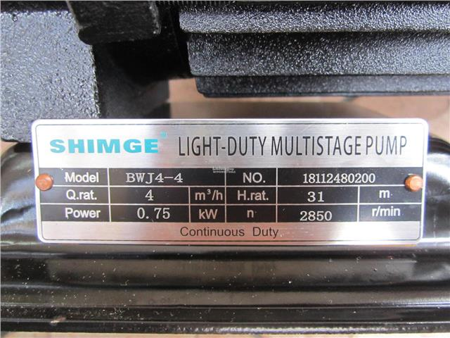Shimge BWJ4-4-PC (1.0HP) Stainless Steel Horizontal Multi-Stage Pump