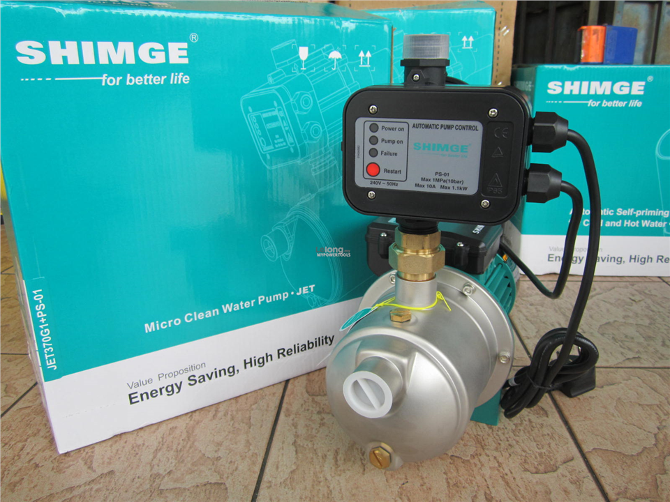 Shimge Jet 370W (0.5HP) Auto Stainless Steel Self-Priming Pump