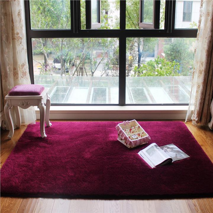 Shaggy Anti-skid Carpets Rugs Floor Mat/Cover 80x120cm Claret Wine Red. ‹