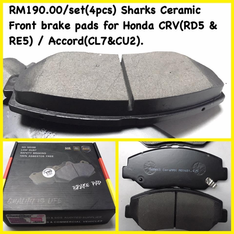 Sharks Ceramic Front Brake Pads Honda CRV. U2039 U203a