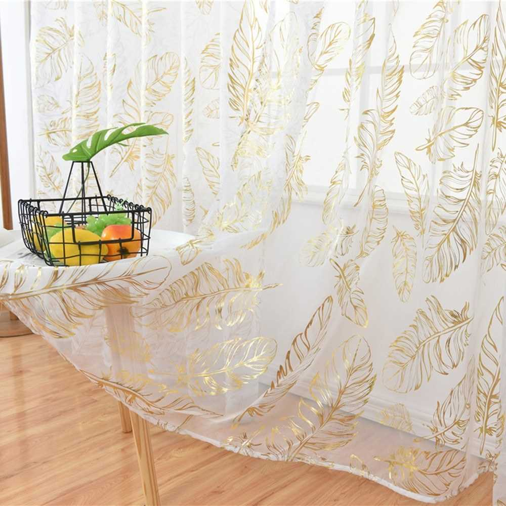 Sheer Curtains Feather Print Window Screen Curtains for Living Room