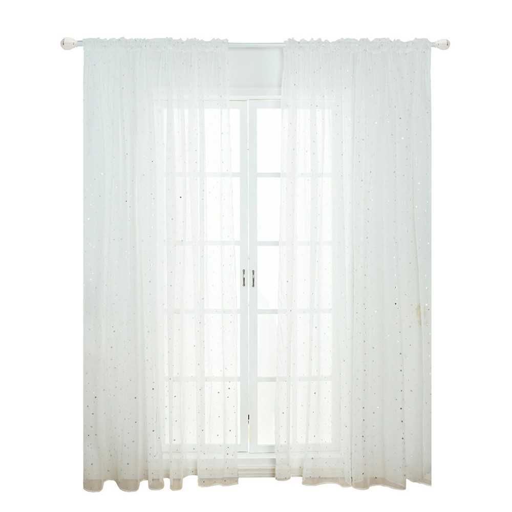 Sheer Curtains Little Star Print Window Screen Curtains for Living