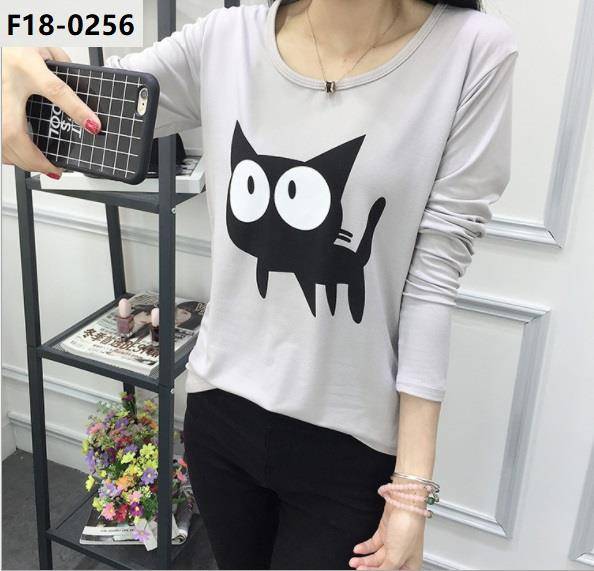Shirt Long Sleeve Girl Ladies Lady Lengan Panjang clothin Baju GreyCat