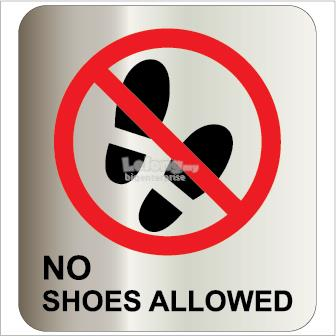 No Shoes Allowed Silver Brushed Sticker 100x100mm